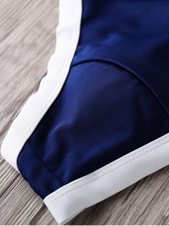 Halter High Neck Bikini Set - BLUE S Mobile