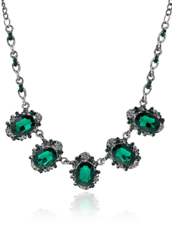 shop Rhinestone Faux Crystal Oval Necklace - GREEN