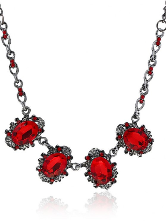 shops Rhinestone Faux Crystal Oval Necklace - RED