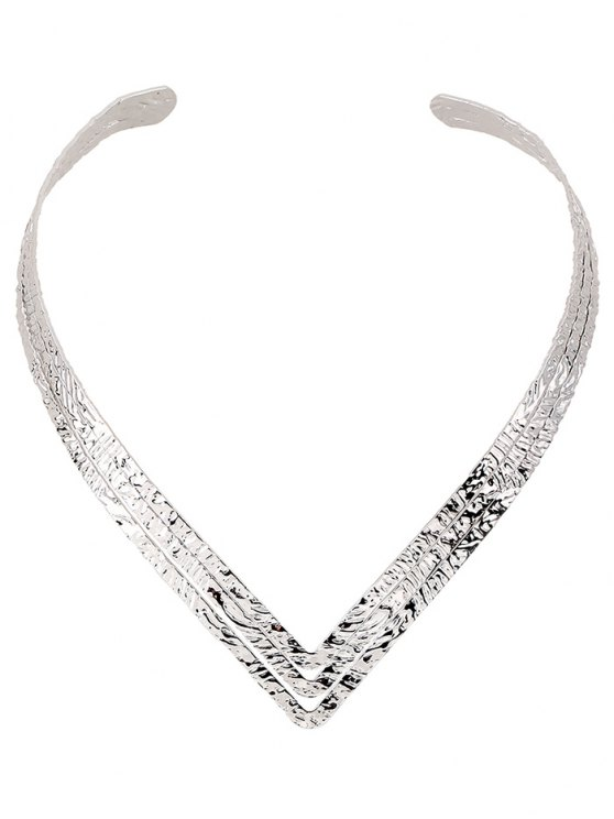 hot Embossed Heart Shape Torques - SILVER