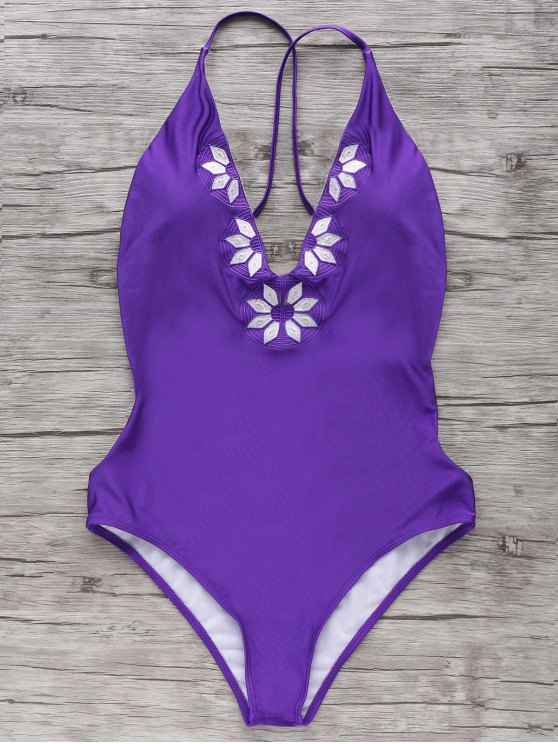 Cami bordado del traje de baño de una sola pieza - Púrpura M