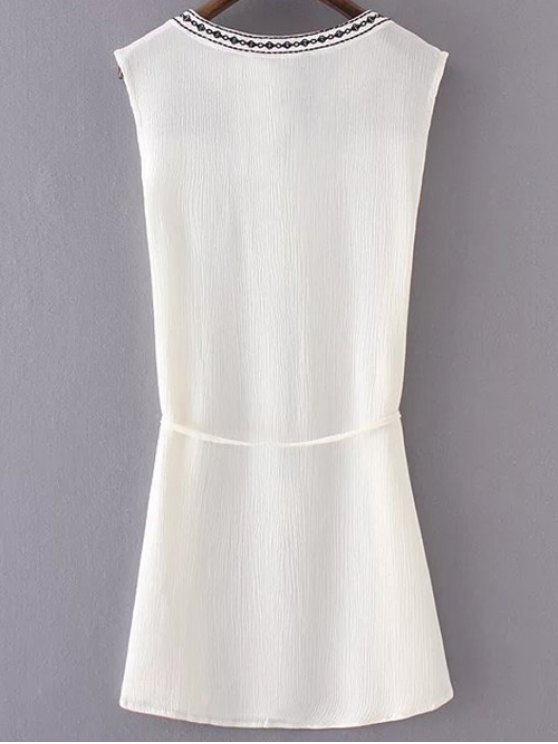Embroidered Belted White Dress - WHITE S Mobile