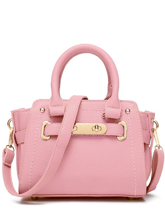 Metal Stitching Solid Color Tote Bag - PINK  Mobile