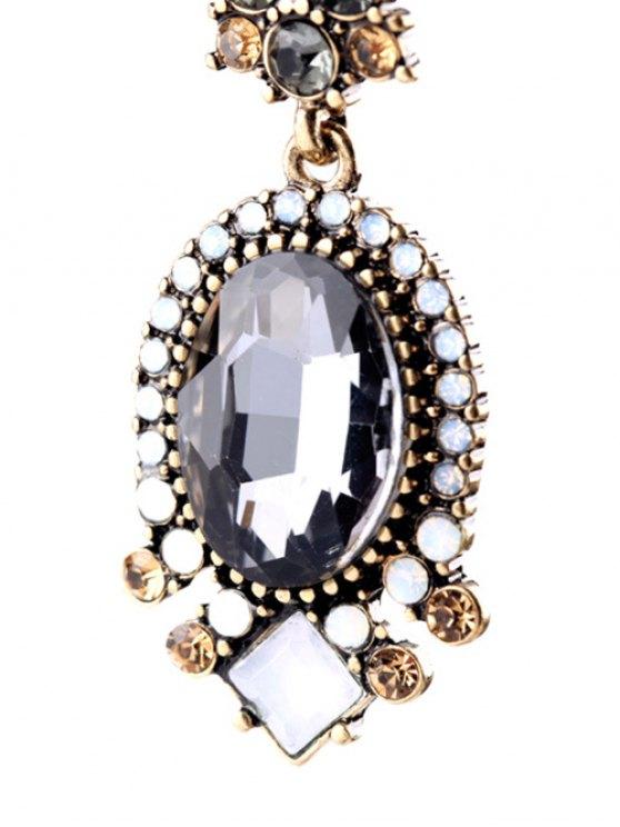 Faux Crystal Rhinestone Oval Earrings - GRAY  Mobile