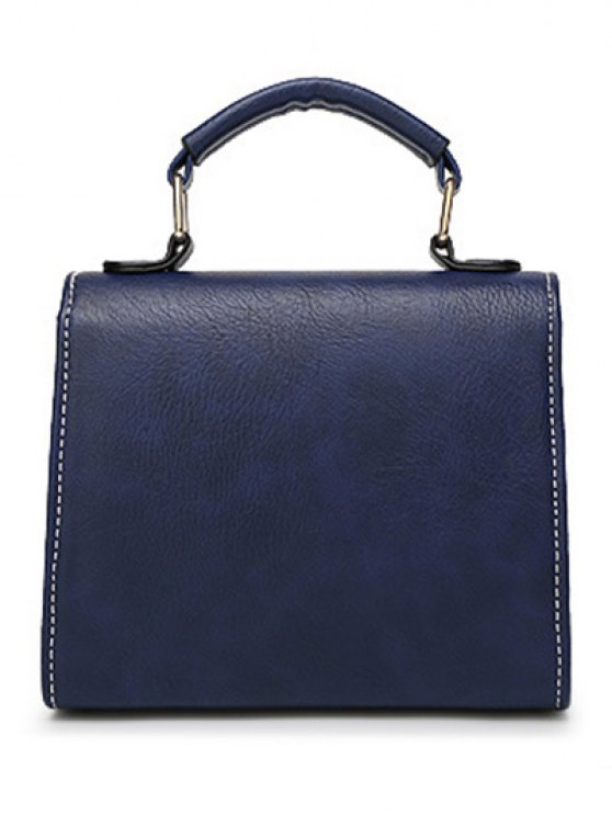 Rivet Stitching Hasp Tote Bag - BLUE  Mobile