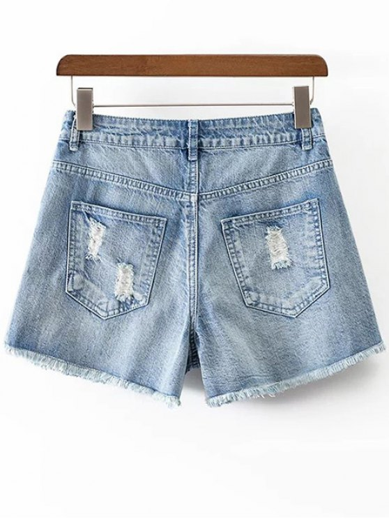 Ripped Rough Selvedge Denim Shorts - ICE BLUE S Mobile