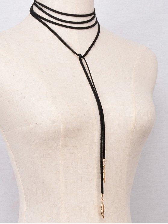 Faux Feather Wrap Choker Necklace - BLACK  Mobile