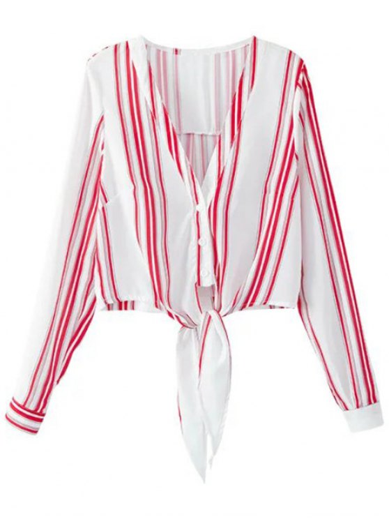 Cropped V-Neck Shirt and Striped Shorts Twinset - RED WITH WHITE L Mobile