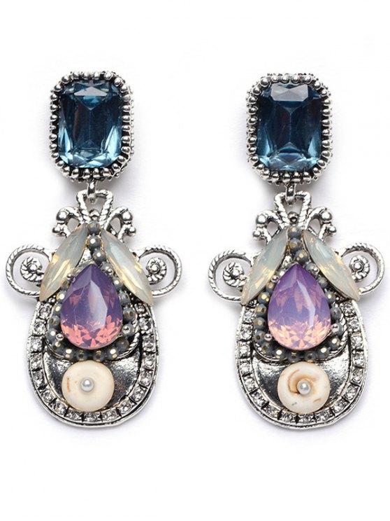 Rhinestone Faux Crystal Water Drop Earrings - PURPLE  Mobile