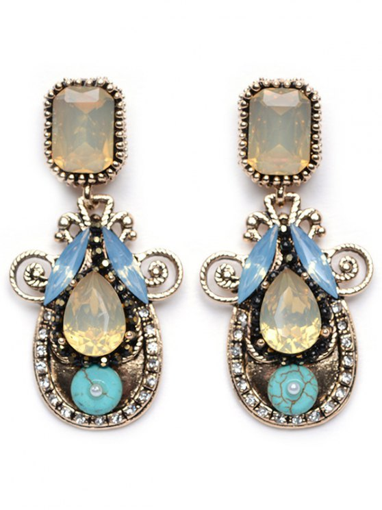 best Rhinestone Faux Crystal Water Drop Earrings - YELLOW