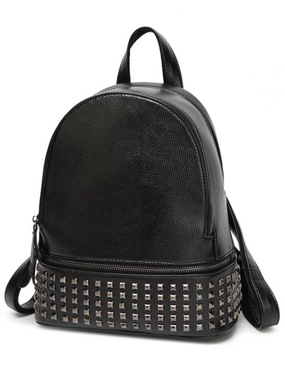 Rivet PU Leather Solid Color Backpack - BLACK  Mobile
