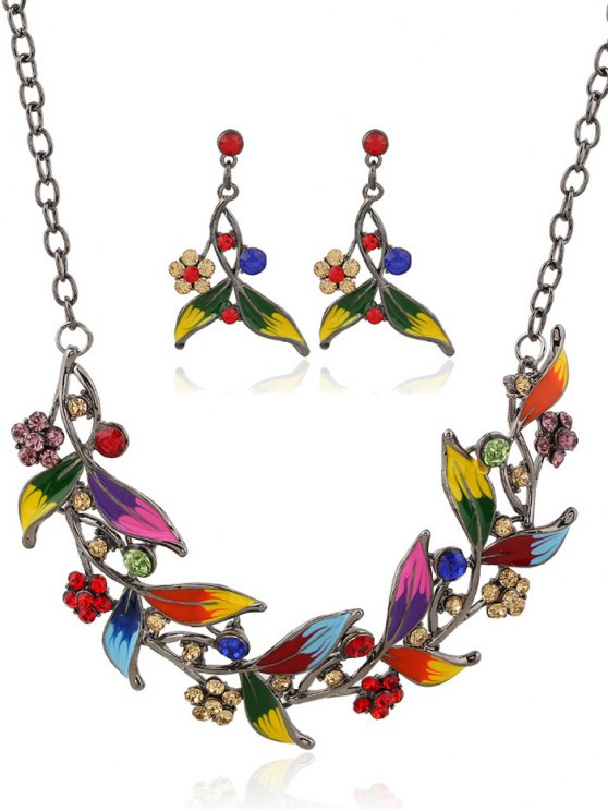 latest Rhinestone FLoral Leaf Necklace and Earrings - COLORMIX