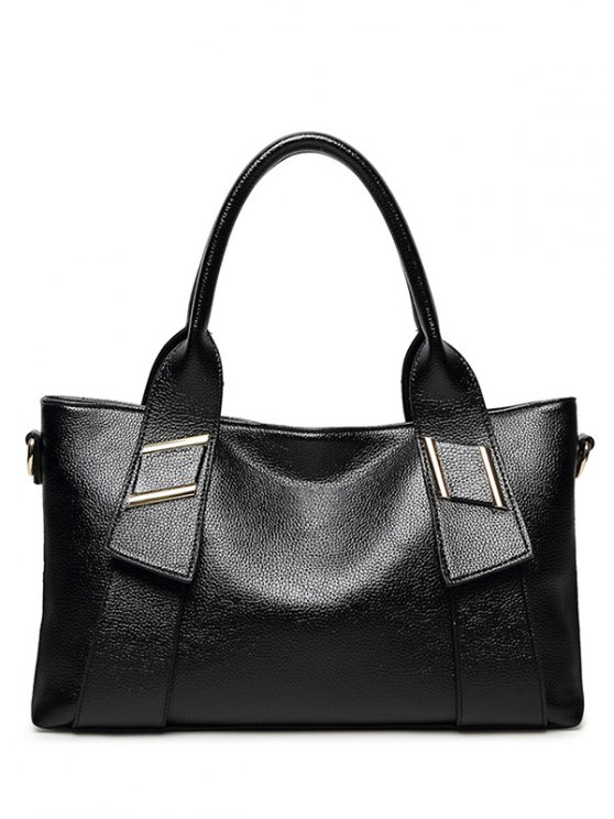 PU Leather Solid Colour Metallic Tote Bag - BLACK  Mobile