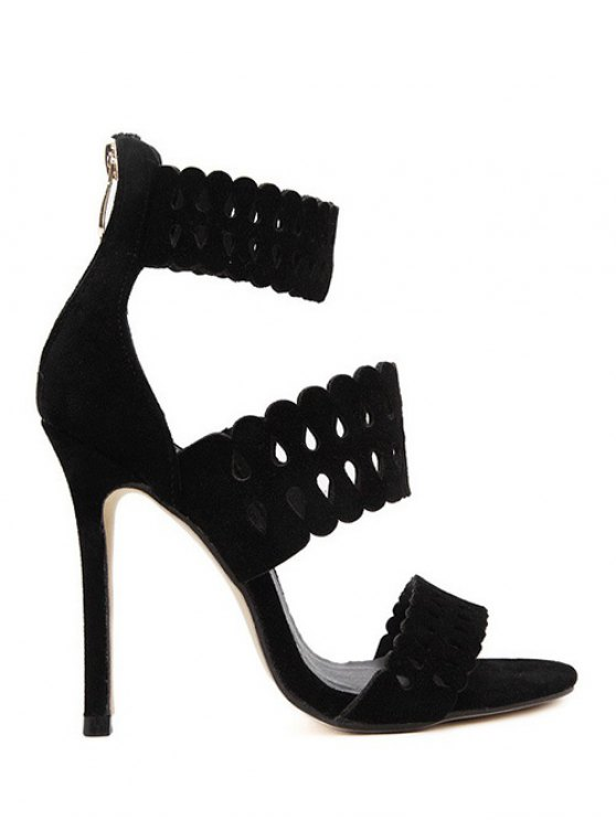 hot Hollow Out Ankle Strap Stiletto Heel Sandals - BLACK 38