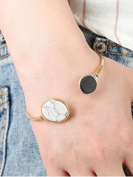 Stone Round Cuff Bracelet - GOLDEN  Mobile