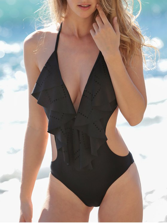 Low Cut Flounce One-Piece Swimwear - BLACK M Mobile