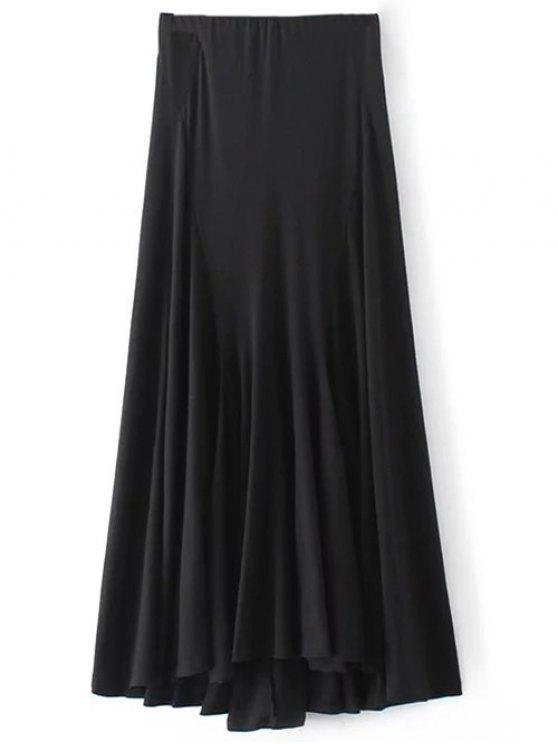 best Irregular Hem High Waisted Skirt - BLACK S
