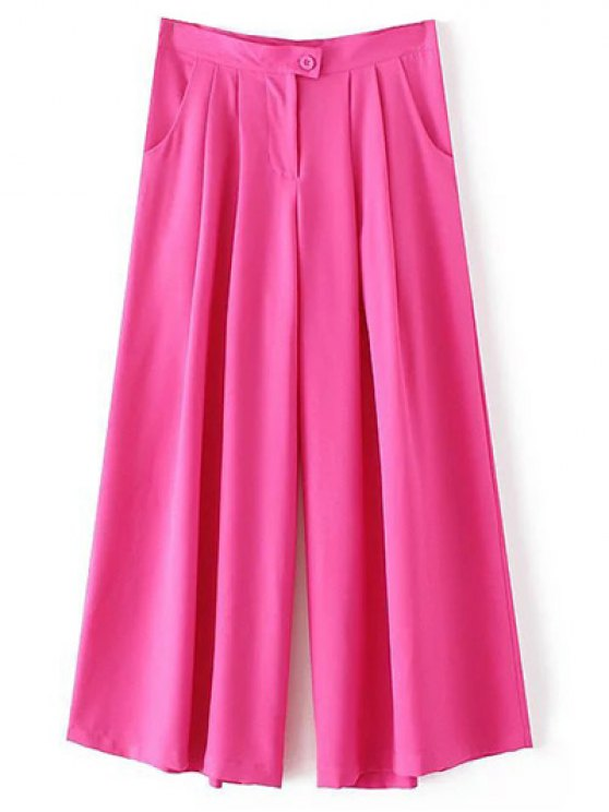 women's Solid Color High Waisted Culotte Pants - ROSE L