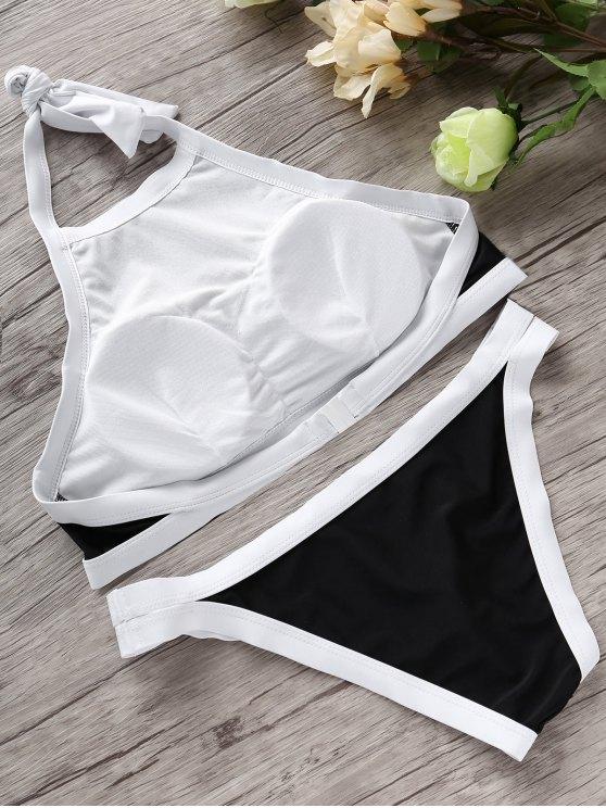 Halter High Neck Bikini Set - BLACK S Mobile