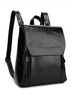 Solid Color Double Zips Backpack - Black