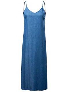 Chambray Backless Cami Dress - Medium Blue S