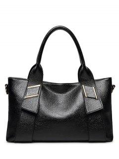 بو الجلود الصلبة اللون المعدني حمل حقيبة - أسود