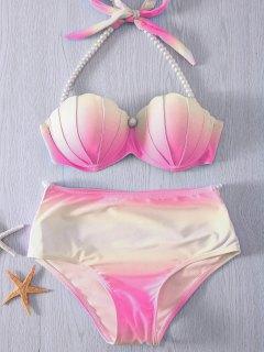 Pearl Halter Ombre Underwire Seashell Bikini - Yellow + Pink 2xl