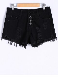 Button Fly Ripped Denim Shorts - Black S