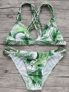 Strappy Tropical Bikini Set - White And Green S