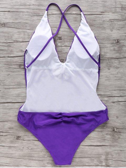 online Embroidered Cami One Piece Swimwear - PURPLE L Mobile
