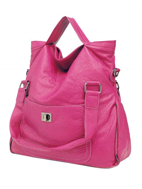 women's PU Leather Solid Color Hasp Tote Bag - ROSE MADDER  Mobile