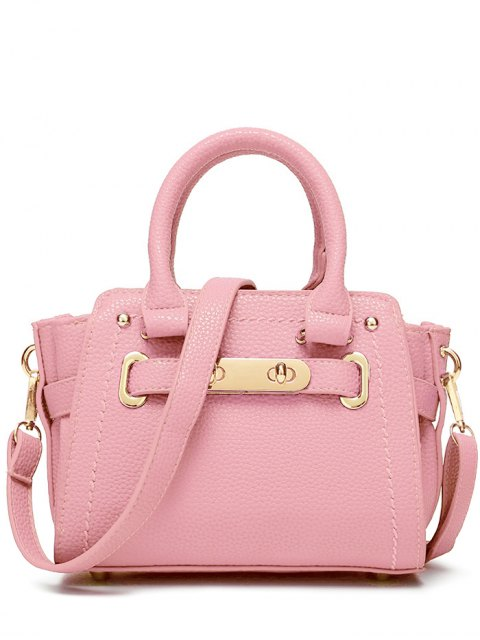 outfit Metal Stitching Solid Color Tote Bag - PINK  Mobile