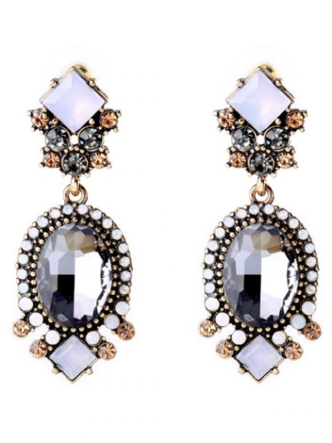 ladies Faux Crystal Rhinestone Oval Earrings - GRAY  Mobile
