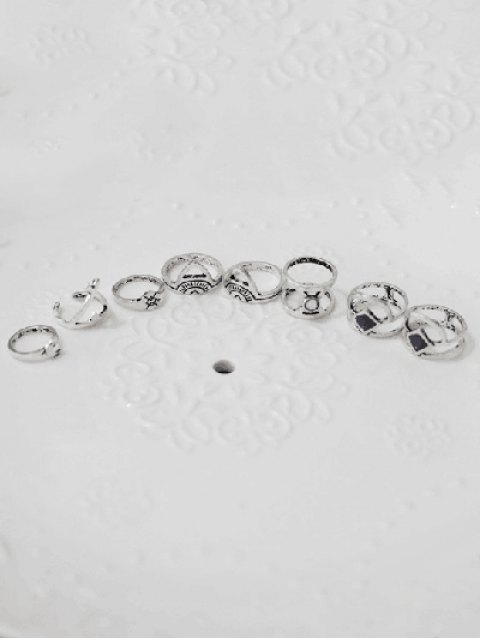 fashion Hollowed Moon Geometric Rings - SILVER  Mobile
