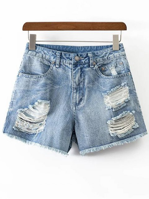 sale Ripped Rough Selvedge Denim Shorts - ICE BLUE S Mobile