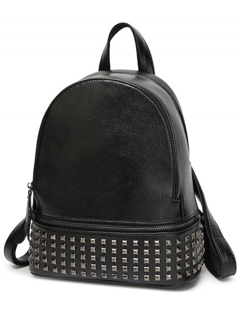 unique Rivet PU Leather Solid Color Backpack -   Mobile