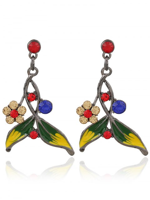 latest Rhinestone FLoral Leaf Necklace and Earrings - COLORMIX  Mobile