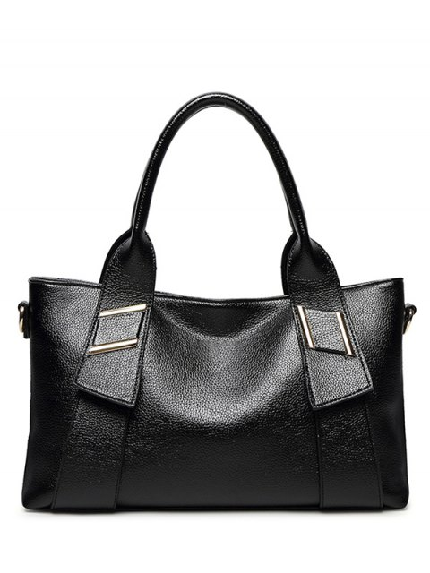 womens PU Leather Solid Colour Metallic Tote Bag - BLACK  Mobile