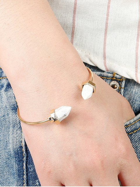 affordable Faux Turquoise Arrowhead Cuff Bracelet - GOLD AND WHITE  Mobile
