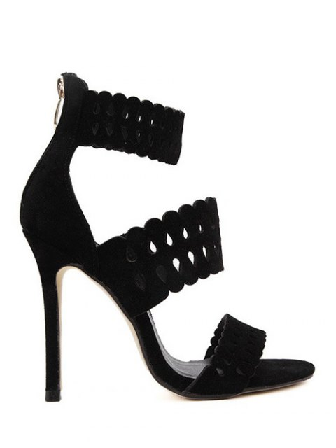 hot Hollow Out Ankle Strap Stiletto Heel Sandals - BLACK 38 Mobile
