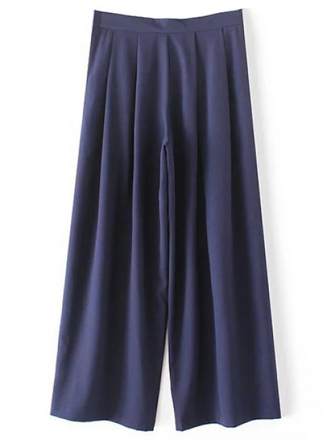 womens Solid Color High Waisted Culotte Pants - CADETBLUE M Mobile