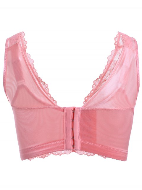 fashion Embroidery Laced Padded Bra - PEACH PINK 80D Mobile