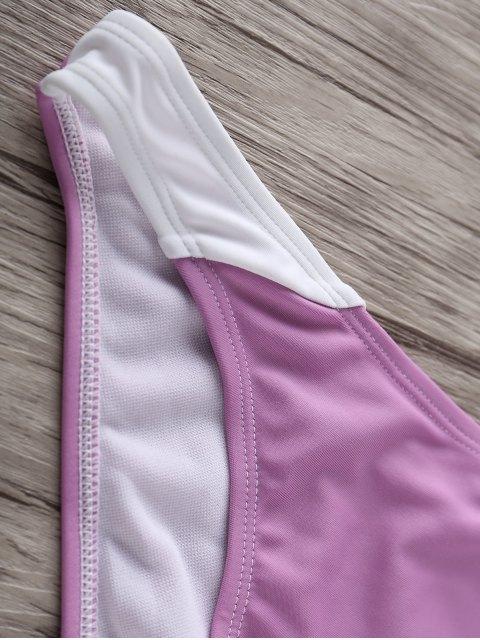 latest High Neck Color Block Bikini Set - WHITE AND PURPLE M Mobile