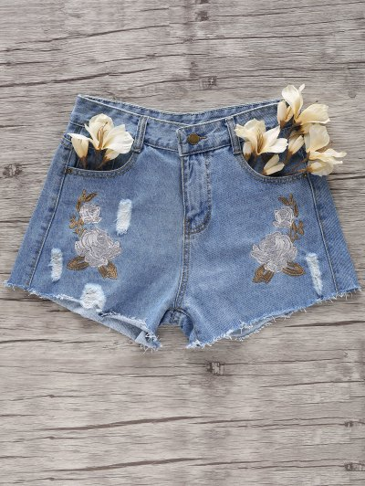 Flower Embroidery Broken Hole Denim Shorts - Light Blue