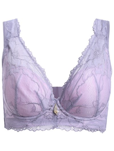 Embroidery Laced Padded Bra - Light Purple