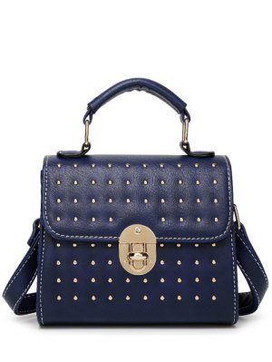Rivet Stitching Hasp Tote Bag - Blue