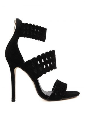 Hollow Out Ankle Strap Stiletto Heel Sandals - Black