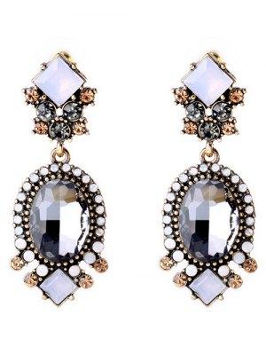 Faux Crystal Rhinestone Oval Earrings - Gray