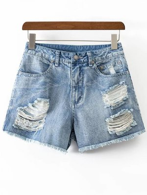 Ripped Rough Selvedge Denim Shorts - Ice Blue