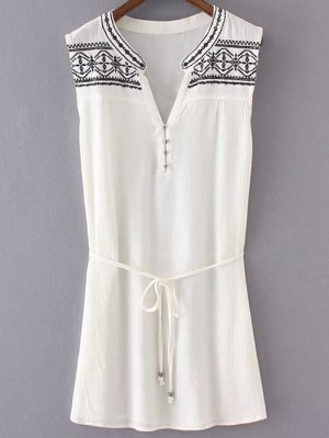 Embroidered Belted White Dress - White